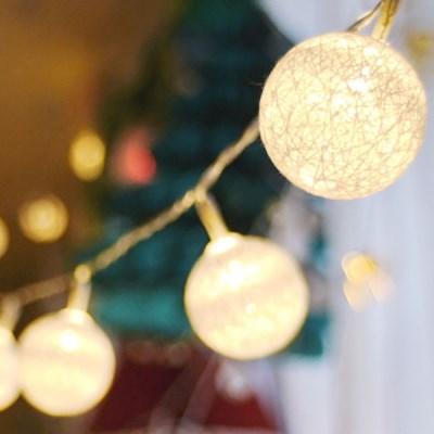LED 코튼마볼라이트 화이트 (3cm) 20P 웜노랑전구_(301528868)