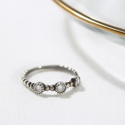 [925실버] 트리플 큐빅 심플 반지