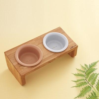 [반달펫] 반려동물 원목식탁 도자기 세트(스몰2구)