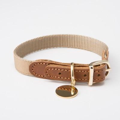 [반달펫]반려동물 인식표 이름표 가죽목걸이(베이지)