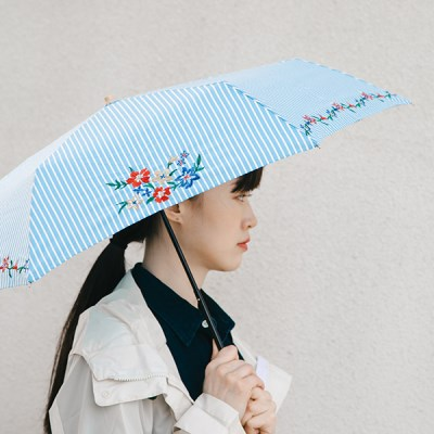 Retro Flower Embroidery Mini 양우산