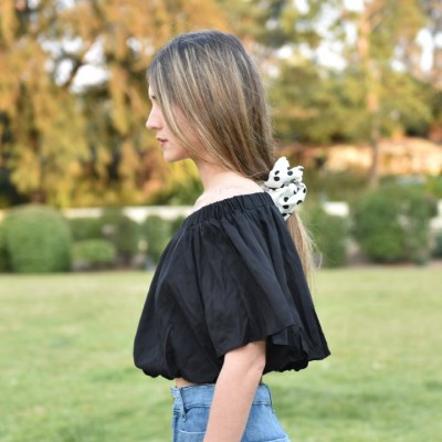 Balloon Off Shoulder Cropped Blouse -Black