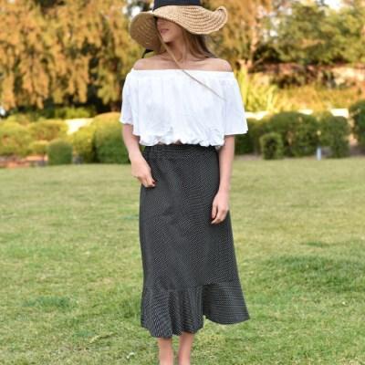 Dot Jersey Long Skirt