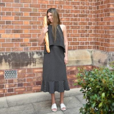 Dot Jersey sleeveless top & Long skirt SET