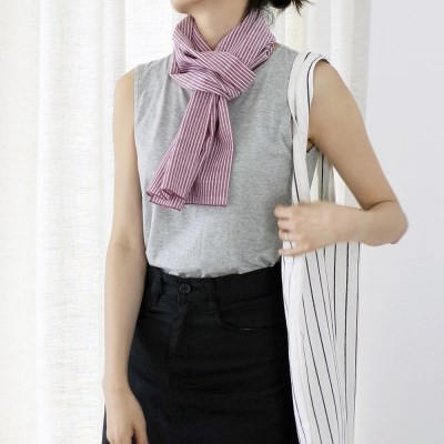 Striped Cotton Scarf (RED)