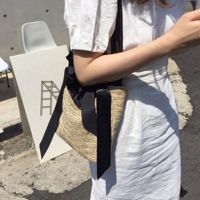 라피아백 Raffia bag - Black