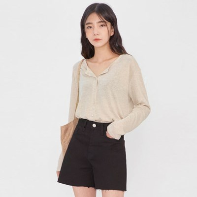 simple linen button T_(978607)