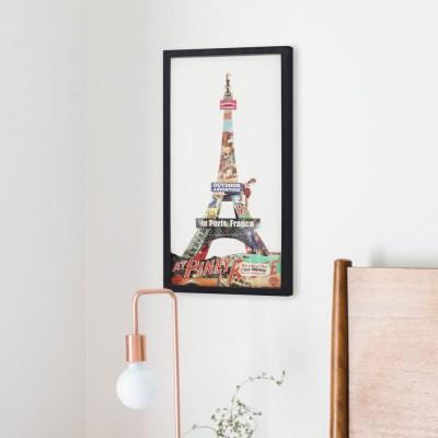 [무아스] 핸드메이드 콜라주 아트 액자 - 에펠탑