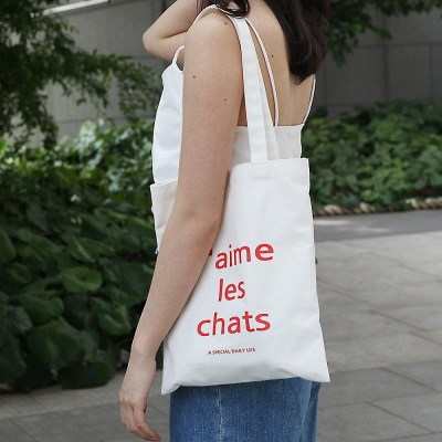 J aime les chats Ecobag Cream Red