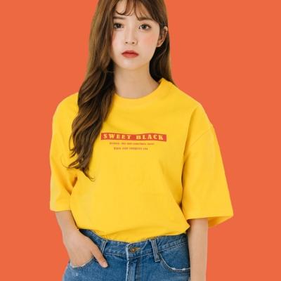 Sticker Signature Print T-Shirts#2_Yellow