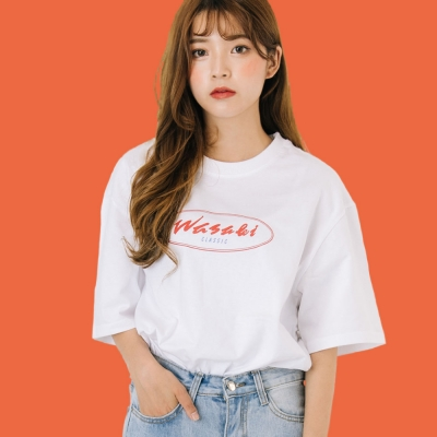 Classic Round Logo Print T-Shirts_White