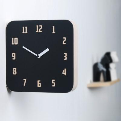 모던 레트로 우드 양면시계 - 블랙&레드