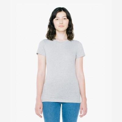 베이직 여성 라운드 반팔 티셔츠 헤더 그레이 2102W