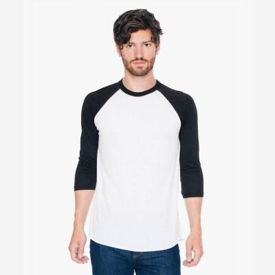 3/4 래글런 티셔츠 화이트/블랙 BB453W