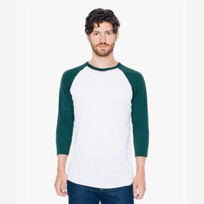 3/4 래글런 티셔츠 화이트/그린 BB453W