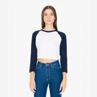 3/4 래글런 크롭 티셔츠 화이트/네이비 RSABB354W