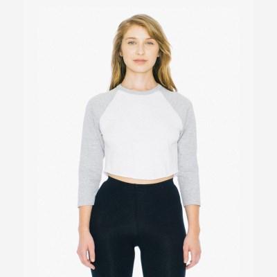 3/4 래글런 크롭 티셔츠 화이트/그레이 RSABB354W
