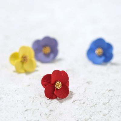 컬러 골드 꽃 귀걸이