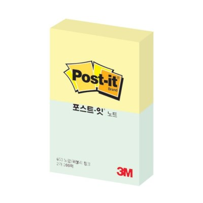 3M 포스트잇 노트 653-2 Y/P(노랑/애플민트)