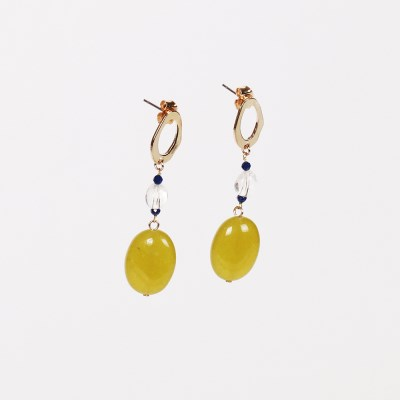 olive stone drop earring