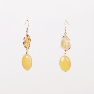 yellow quartz drop earring