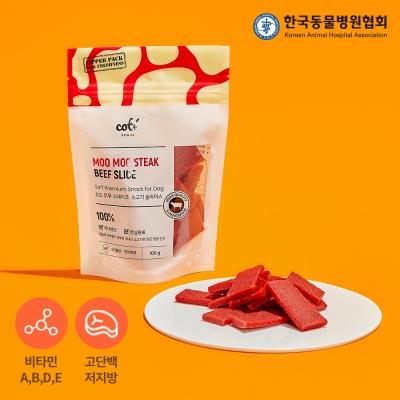 기능성 강아지간식 무무 스테이크 소고기 슬라이스 100g