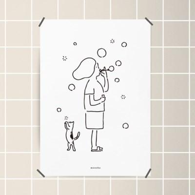 유니크 인테리어 디자인 포스터 M 소확행4 비누방울