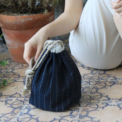 Linen pouch bag _navy