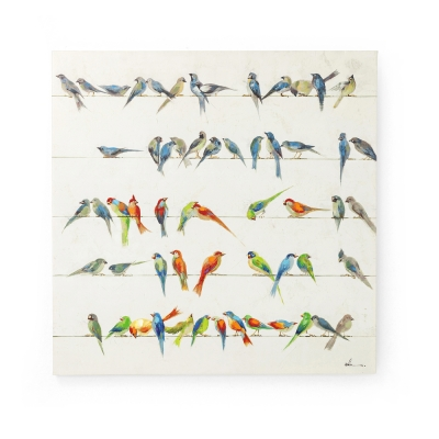 Picture Touched Birds Meeting 100x100cm