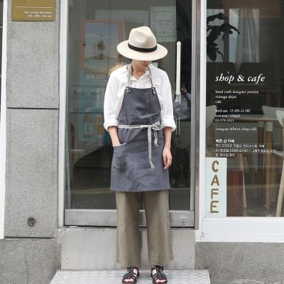gray denim short apron