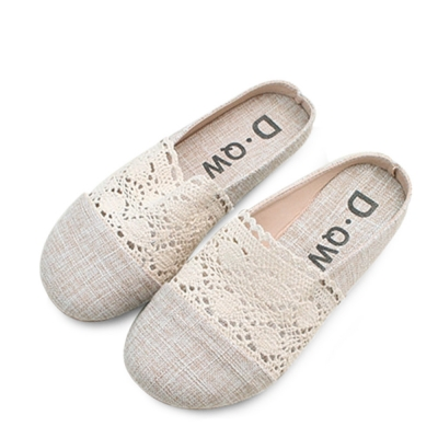kami et muse Lace fabric flat slippers_KM18s393