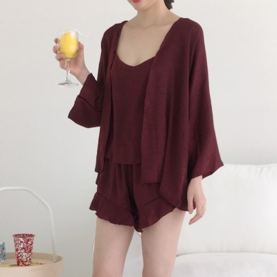 [안녕잘자] 당일발송 민소매여름 3pc 잠옷세트 (2color)