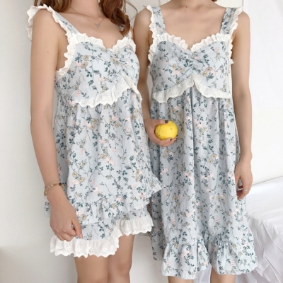 [안녕잘자] 당일발송 플로럴 민소매 잠옷세트 / 원피스잠옷 (2color)