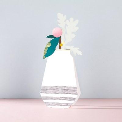 책상 위 한 송이 꽃 - 입체카드