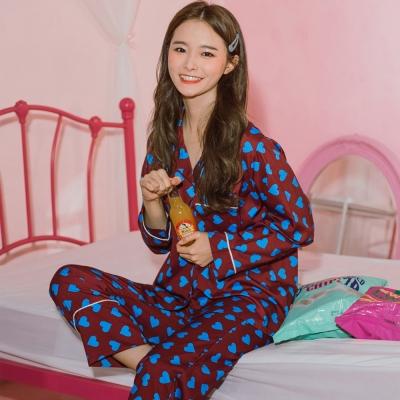 [안녕잘자] 당일발송 초코하트 긴팔 잠옷세트 (2color)