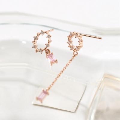 타원 언발 핑크 드랍 귀걸이