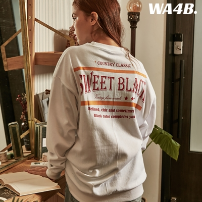 Sweet Black Graphic Over-Fit Sweat shirt_White