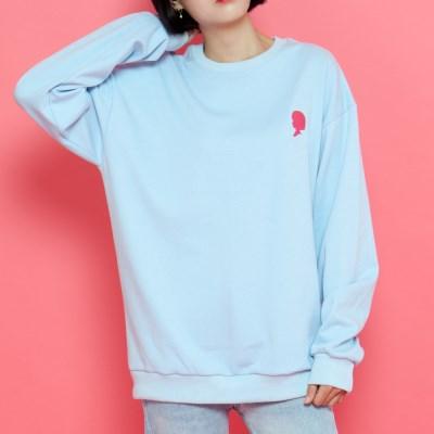 WASABI X DAMINI Collabo Basic Over-Fit Sweat shirt_Sky Blue