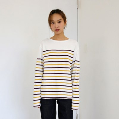 [MONDAY STUDIO] Daily two-tone cut stripe tee