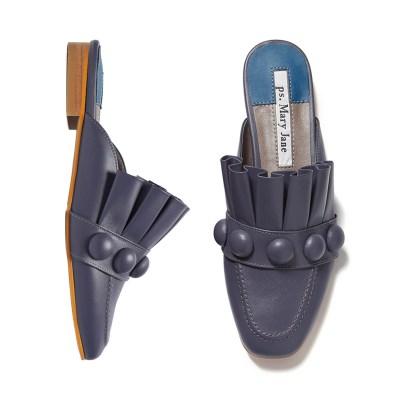 Royal pleats bloafer Gloomy Blue_1cm (양가죽)