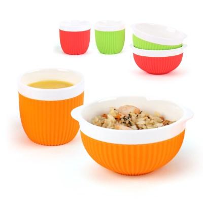 투데코 실리콘 커버 도자기 컵&공기 세트(비비드)