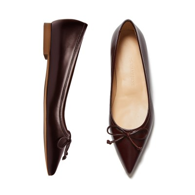Classic ribbon flat shoes Red brown_1cm (소가죽)