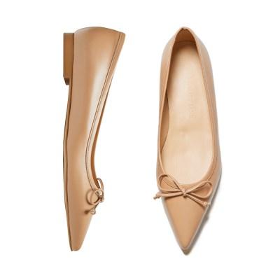 Classic ribbon flat shoes Beige_1cm (소가죽)