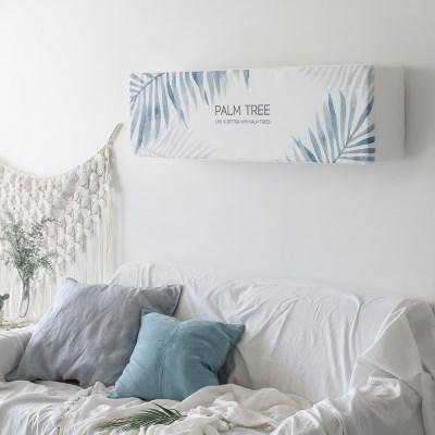 3중직 에어컨커버 벽걸이 스판 코코팜 블루