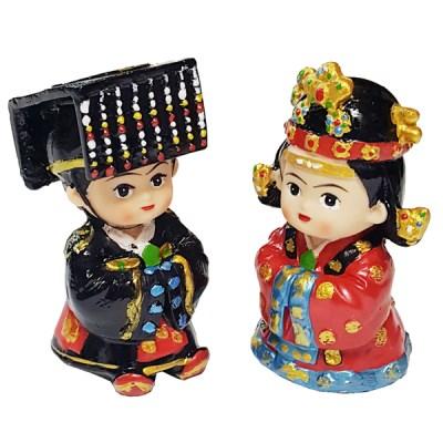 한국 전통대례복 왕과왕비 미니 장식인형