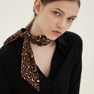 leopard mini tie scarf
