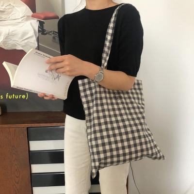 Middle grey check bag ( handmade )