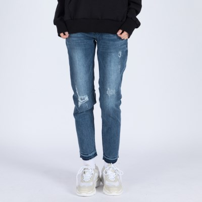WOMENs BAGGY DESTROYED MID WASHED