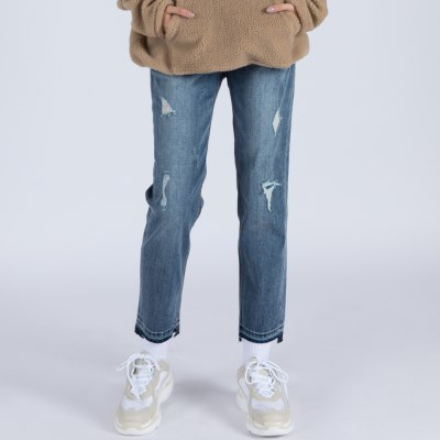 WOMENs STRAIGHT DESTROYED MID WASHED