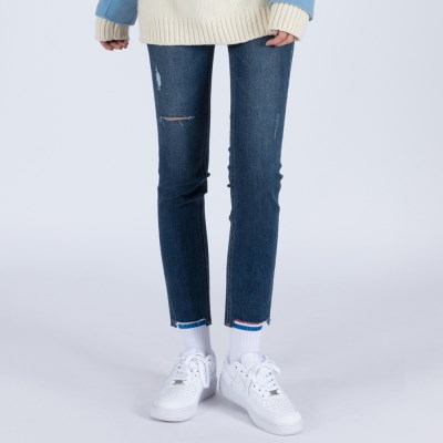 WOMENs SLIM STRAIGHT DESTROYED MID WASHED